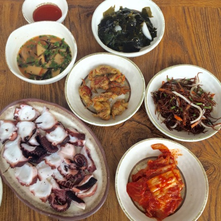 """the banchan, or small """"appetizers"""" that accompany the meal"""